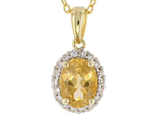 Photo of 1.00ct Yellow Beryl And .16ctw White Zircon 18k Yellow Gold Over Sterling Silver Pendant With Chain