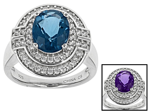 Photo of 2.38ct Oval Color Change Blue Fluorite With .44ctw Round White Zircon Sterling Silver Ring - Size 12