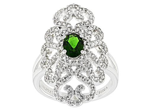 Photo of .60ct Oval Russian Chrome Diopside With 1.04ctw Round White Zircon Sterling Silver Ring - Size 5