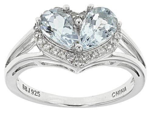 Photo of 1.50ctw Pear Shape Aquamarine And .21ctw Round White Zircon Sterling Silver Ring - Size 12