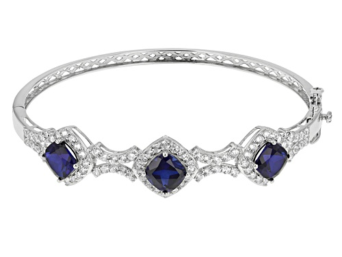 Photo of 7.14ctw Square Cushion Lab Created Blue Sapphire With 4.21ctw White Zircon Silver Bangle Bracelet - Size 8