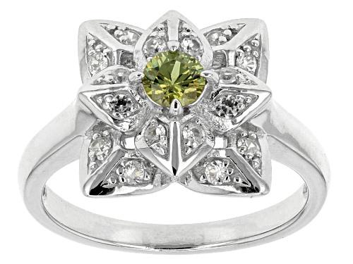 Photo of .25ct Round Demantoid Garnet With .46ctw Round White Zircon Sterling Silver Ring - Size 12