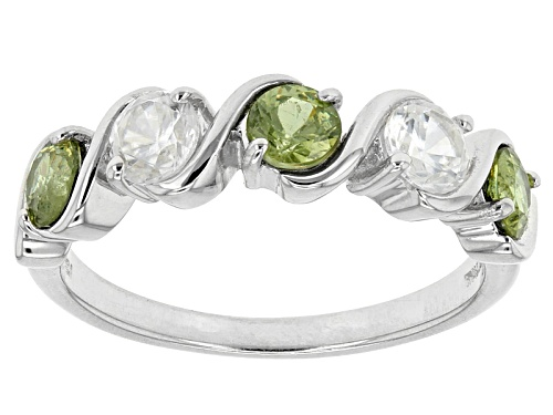 Photo of .75ctw Round Demantoid Garnet With .70ctw Round White Zircon Sterling Silver 5-Stone Band Ring - Size 8