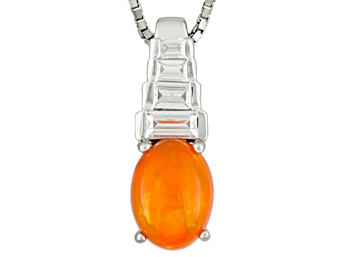 Photo of .67ct Oval Orange Ethiopian Opal With .29ctw Baguette White Zircon Silver Pendant With Chain
