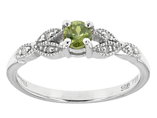 Photo of .25ct Round Demantoid Garnet With .04ctw Round Diamond Accent Sterling Silver Ring - Size 11