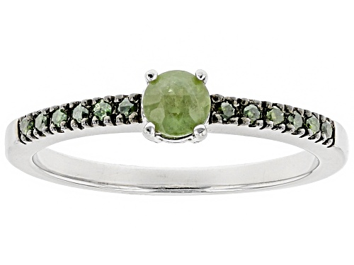 Photo of .25ct Round Demantoid Garnet With .09ctw Round Green Diamond Accent Sterling Silver Ring - Size 10
