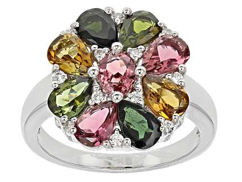 Photo of 2.98ctw Multi-Color Tourmaline With .19ctw White Zircon Silver Cluster Ring - Size 5