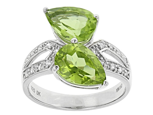 Photo of 3.50ctw Pear Shape Manchurian Peridot™ With .13ctw Round White Zircon Sterling Silver Ring - Size 12