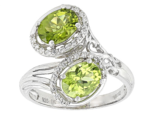 Photo of 2.50ctw Oval Manchurian Peridot™ And .20ctw Round White Zircon Sterling Silver Ring - Size 7