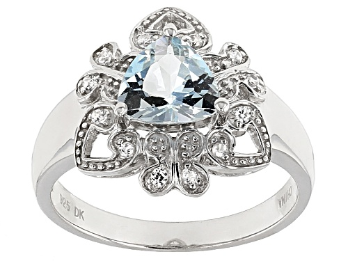 Photo of .76ct Trillion Aquamarine And .11ctw Round White Zircon Sterling Silver Ring - Size 7