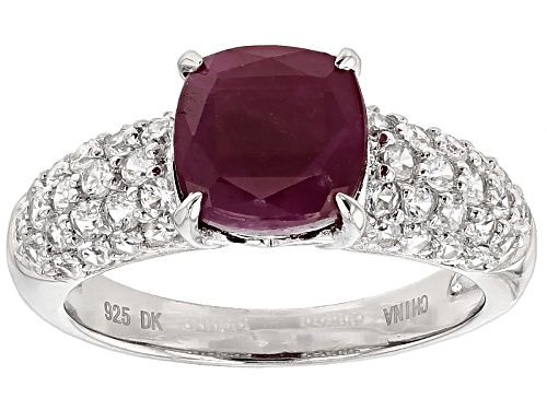 Photo of 2.55ct Square Cushion Mahaleo® Ruby And .58ctw Round White Zircon Sterling Silver Ring - Size 12