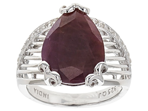 Photo of 7.60ct Pear Shape Indian Ruby And .30ctw Round White Topaz Sterling Silver Ring - Size 10