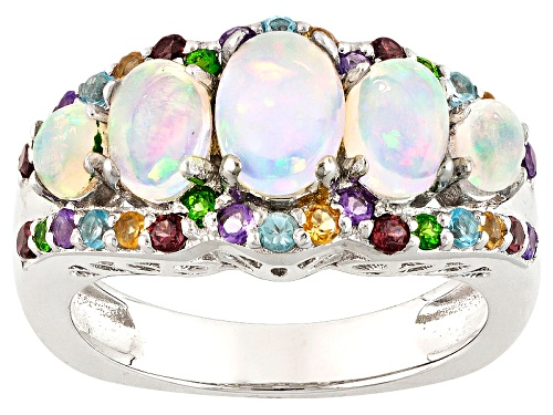 Photo of 1.91ctw Ethiopian Opal, Swiss Blue Topaz, African Amethyst, Multi Gem Rhodium Over Silver Ring - Size 7