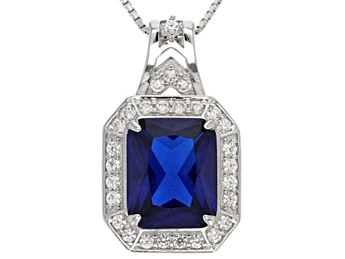 Photo of 3.91ct Emerald Cut Lab Created Blue Spinel With .91ctw Round White Zircon Silver Pendant With Chain