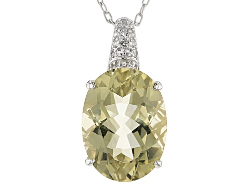 Photo of 12.00ct Oval Canary Yellow Quartz And .28ctw Round White Topaz Sterling Silver Pendant With Chain