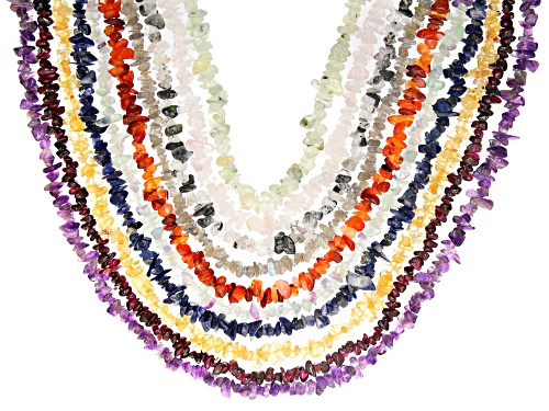 Photo of Assorted Gemstone Free Form Nugget Endless Strand Necklaces Set Of 10