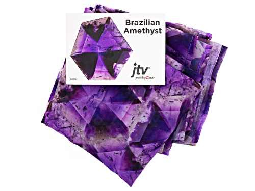 Photo of Amethyst Gemstone Print Chiffon Scarf Measures Approximately 18 Inches By 67 Inches