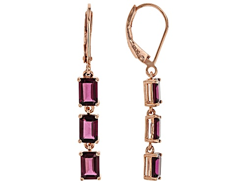 Photo of 4.23ctw Emerald Cut Raspberry Color Rhodolite 18k Rose Gold Over Silver 3-Stone Earrings
