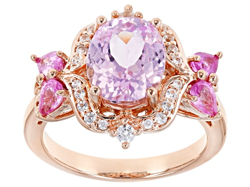 Photo of 2.77CT KUNZITE, .49CTW PINK SAPPHIRE AND .23CTW WHITE ZIRCON 18K ROSE GOLD OVER STERLING SILVER RING - Size 8