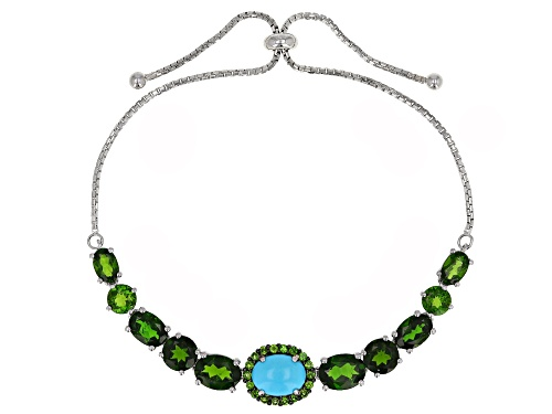 "Photo of 7.51ctw chrome diopside & 9X7mm turquoise rhodium over silver bolo bracelet adjusts 6""-9"""