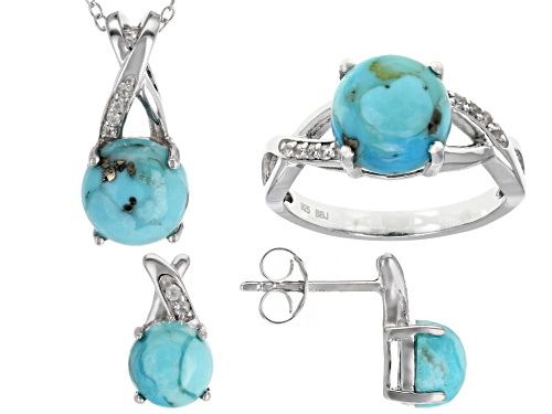 Photo of 7 & 9mm Turquoise with .12ctw White Zircon Rhodium Over Silver Ring, Earrings & Pendant w/Chain Set