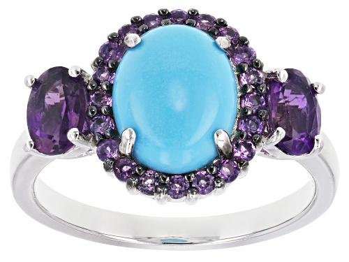 Photo of 10X8mm cabochon Sleeping Beauty turquoise & 1.33ctw African amethyst rhodium over silver ring - Size 11