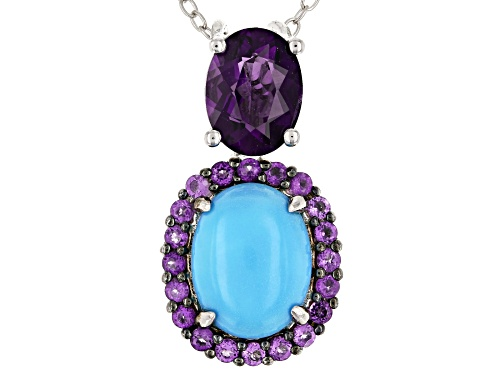 Photo of 10X8mm oval Sleeping Beauty turquoise & 1.62ctw African amethyst rhodium over silver pendant w/chain