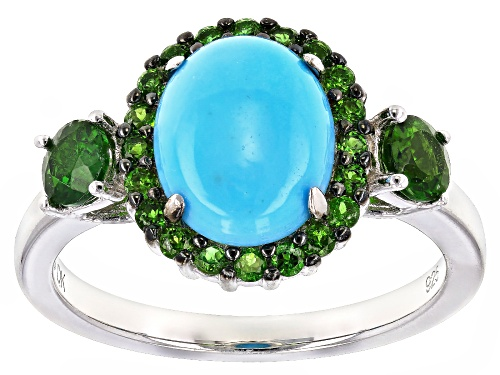 Photo of 10X8mm Sleeping Beauty turquoise with .80ctw Russian chrome diopside rhodium over silver ring - Size 11