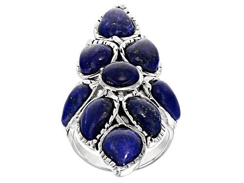 Photo of 10X7MM PEAR SHAPE & 7MM ROUND LAPIS LAZULI STERLING SILVER RING - Size 7