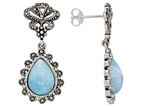 Photo of 12X9MM PEAR SHAPE LARIMAR & ROUND MARCASITE STERLING SILVER DANGLE EARRINGS
