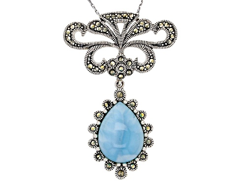 Photo of 16X12MM PEAR SHAPE LARIMAR WITH ROUND MARCASITE SILVER SLIDE PENDANT WITH CHAIN