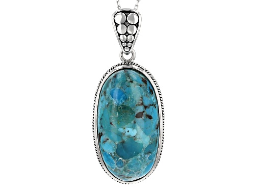 Photo of 27X14.5MM OVAL TURQUOISE SOLITAIRE STERLING SILVER PENDANT WITH CHAIN