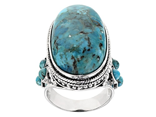 Photo of 27X14.5MM OVAL & 3.50MM ROUND TURQUOISE STERLING SILVER RING - Size 6