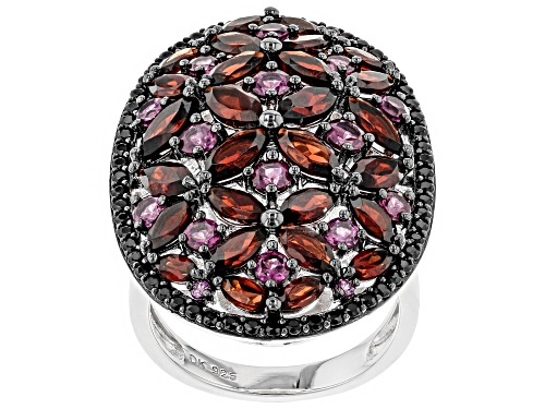 Photo of 6.88ctw rhodolite, garnet and spinel rhodium over sterling silver ring - Size 5