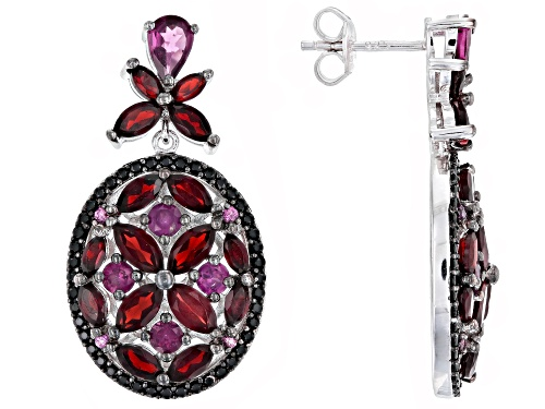 Photo of 2.17ctw rhodolite,.65ctw spinel and 5.41ctw garnet rhodium over sterling silver earrings