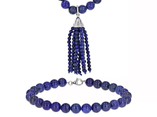 Photo of 8.5x4.2mm lapis lazuli necklace, bracelet set with 3mm tassel enhancer sterling silver set