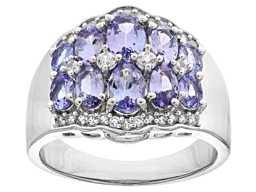 Photo of 2.46ctw oval tanzanite with 0.47ctw round zircon rhodium over sterling silver ring - Size 8