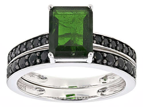 Photo of 2.00ct emerald cut Russian chrome diopside & 1.12ctw black spinel rhodium over silver 2 ring set - Size 10