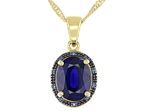 Photo of 2.72ct Kyanite with .02ctw Blue Diamond Accent 18k  Gold Over Sterling Silver Pendant with Chain