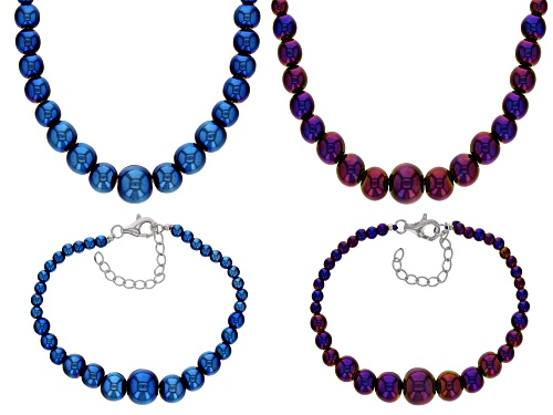 Photo of 4-12MM ROUND GRADUATED BLUE & PURPLE HEMATINE STERLING SILVER SET OF TWO NECKLACE & BRACELET
