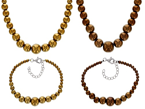 Photo of 4-12MM ROUND GRADUATED GOLDEN & CHOCOLATE HEMATINE SILVER SET OF TWO NECKLACE & BRACELET