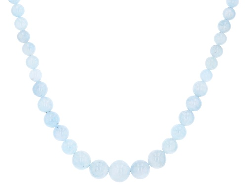 Photo of 6-14MM ROUND GRADUATED AQUAMARINE STERLING SILVER NECKLACE - Size 20