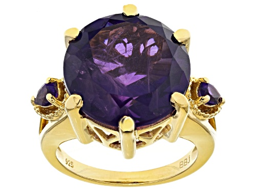 Photo of 11.90ct round 0.34ct and pear shaped African amethyst 18k gold over sterling silver ring - Size 10