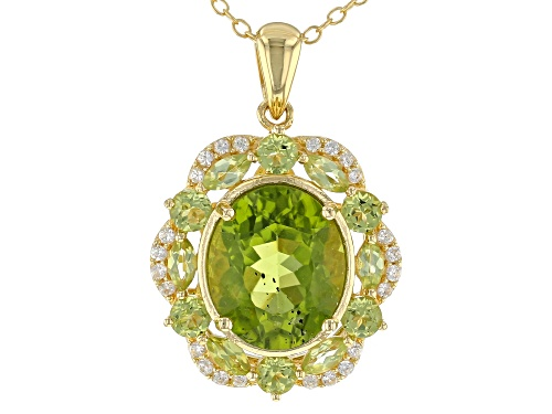 Photo of 5.89CTW MIXED SHAPE MANCHURIAN PERIDOT™, .26CTW WHITE ZIRCON 18K GOLD OVER SILVER PENDANT W/CHAIN