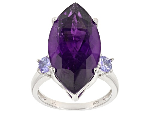 Photo of 7.65CT MARQUISE AFRICAN AMETHYST & .46CTW ROUND TANZANITE RHODIUM OVER SILVER RING - Size 8