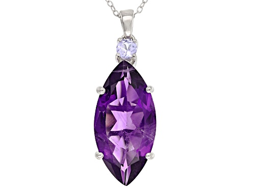 Photo of 7.65CT MARQUISE AFRICAN AMETHYST & .23CT ROUND TANZANITE RHODIUM OVER SILVER PENDANT W/ CHAIN