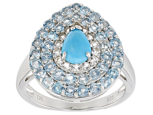 Photo of SLEEPING BEAUTY TURQUOISE, 1.69CTW SWISS BLUE & WHITE TOPAZ RHODIUM OVER SILVER RING - Size 7
