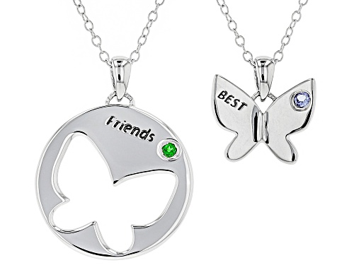 """Photo of .04ct tanzanite & .04ct chrome diopside rhodium over silver """"best friends"""" pendant w/chain set of 2"""