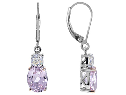 Photo of 4.47ctw oval kunzite & .69ctw square cushion lab strontium titanate rhodium over silver earrings