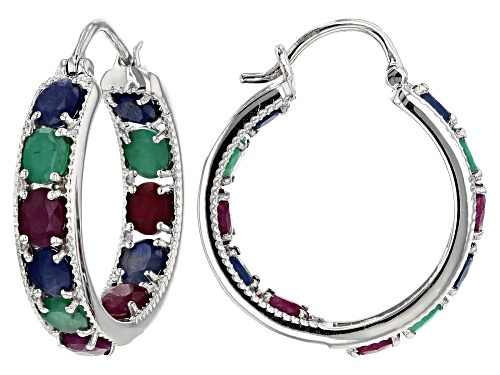 Photo of 8.71ctw oval ruby, blue sapphire and Sakota emerald rhodium over silver inside/outside hoop earrings
